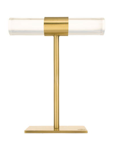Large Antiqued Brass & Acrylic T-Bar