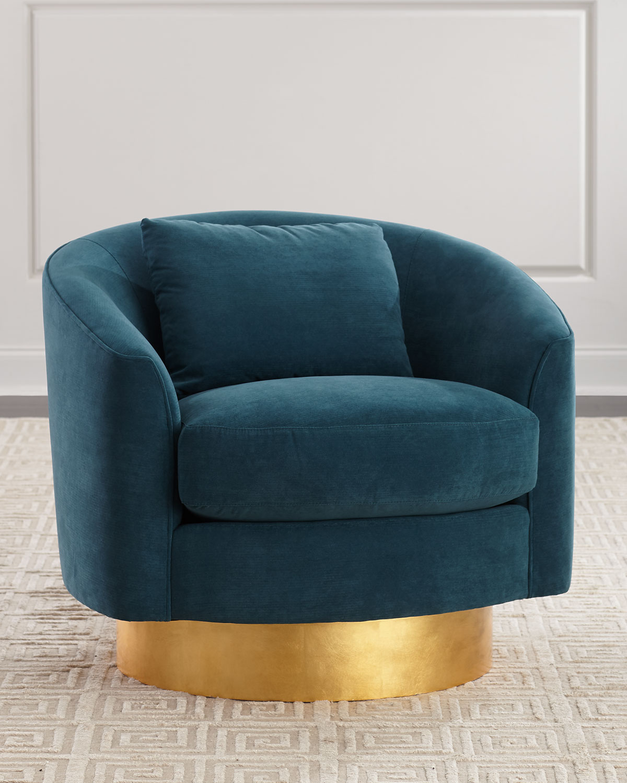 Bernhardt Peacock Velvet Swivel Chair Neiman Marcus