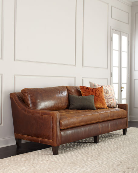 "Massoud Markel Biscuit Tufted Leather Sofa 84"""