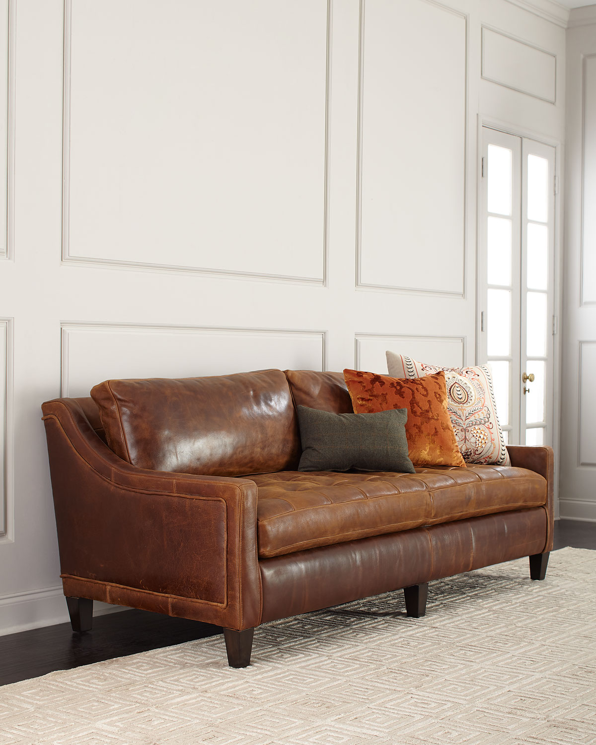Markel Biscuit Tufted Leather Sofa 84\