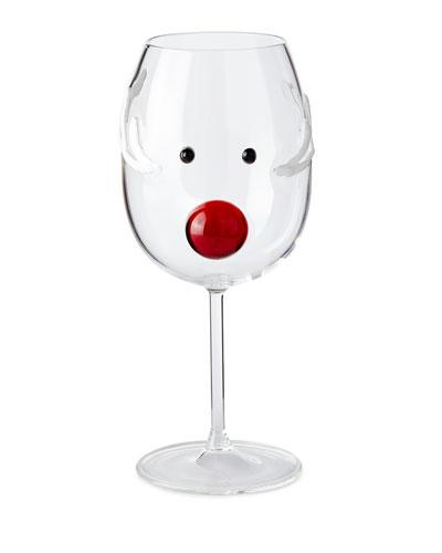 Reindeer Wine Glass