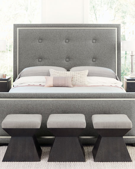 Decorage Tufted Stainless-Trim Queen Bed