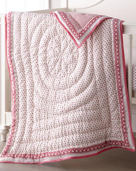 Roller Rabbit Hearts-Print Baby Quilt