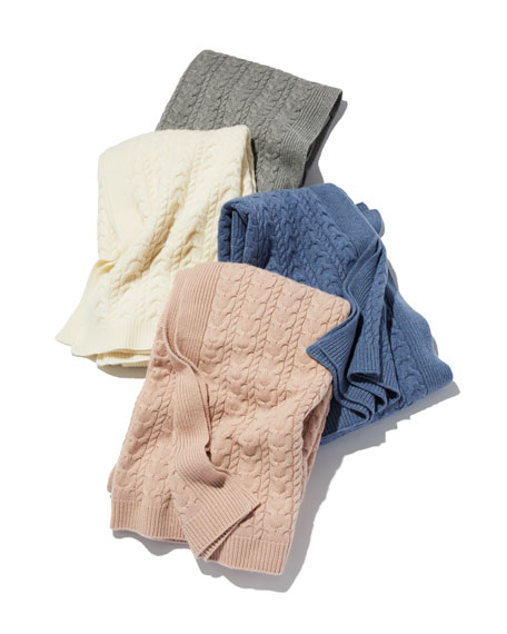 """Sofia Cashmere Twisted Cable Throw Blanket, 50"""" x 60"""""""