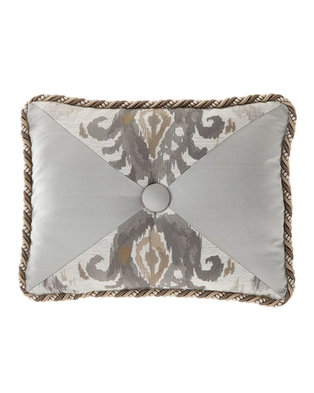 Dian Austin Couture Home Carte Le Blanche Pieced Oblong Pillow with Center Button
