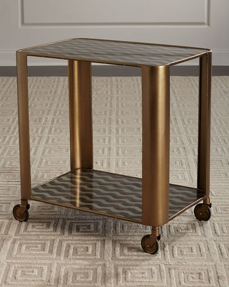 Image 1 of 4: Celerie Kemble for Arteriors Tinsley Bar Cart
