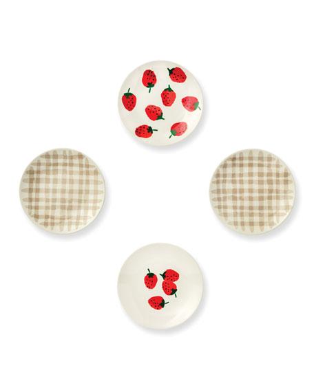 kate spade new york strawberries tidbit plates, set of 4