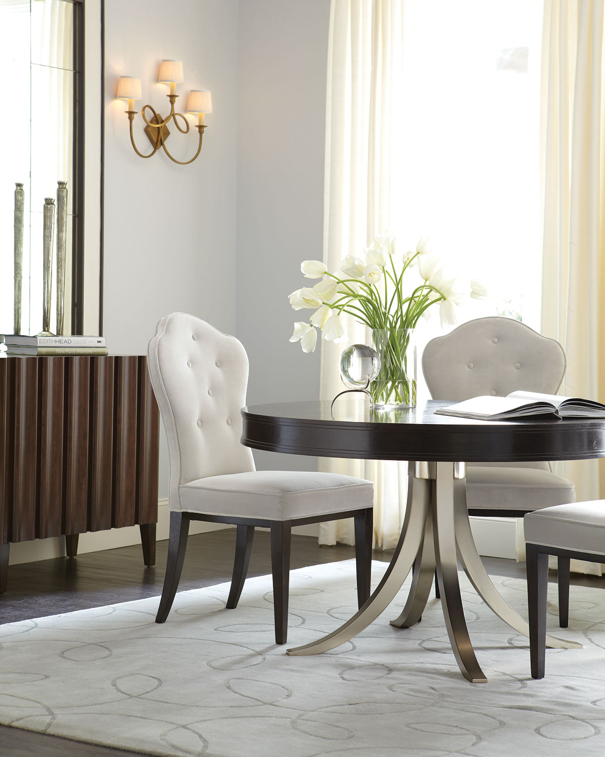 Bernhardt Haven Button Tufted Dining Side Chairs Pair