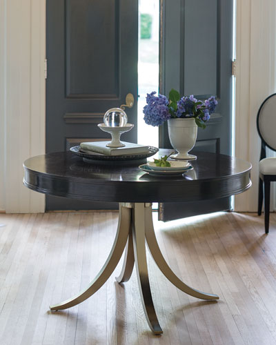 Haven 48 Round Dining Table with Vintage Nickel Metal Base