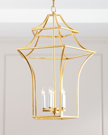 Image 3 of 3: Claudia Gold Leaf Pagoda Chandelier