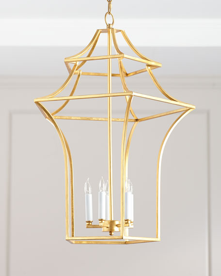 Image 1 of 3: Claudia Gold Leaf Pagoda Chandelier