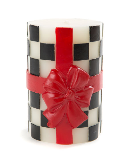 MacKenzie-Childs Beribboned Check Pillar Candle