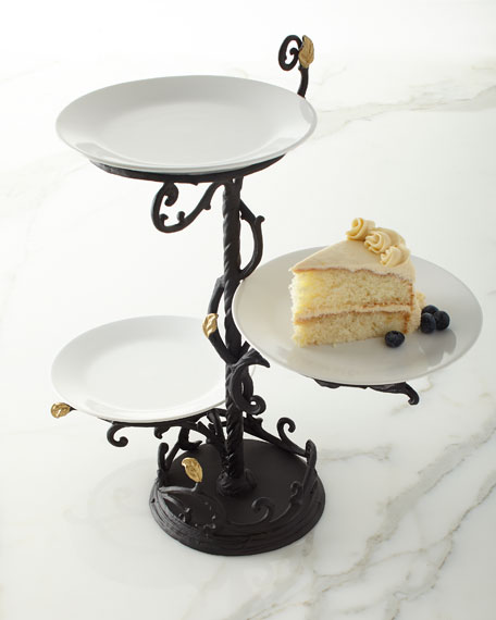 G G Collection Gold Leaf 3-Tier Stand