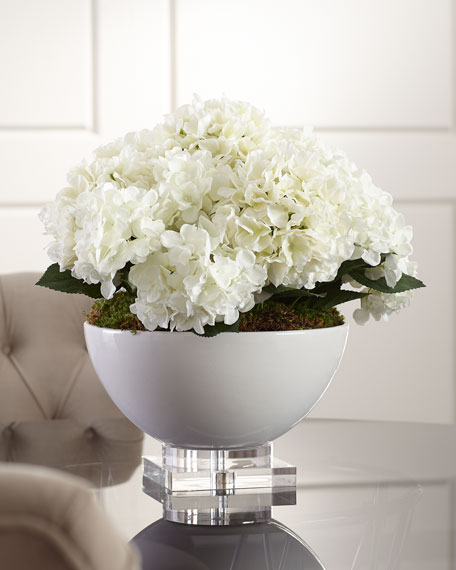 Image 1 of 2: John-Richard Collection Hydrangea Floral Arrangement in Ceramic & Crystal Pot