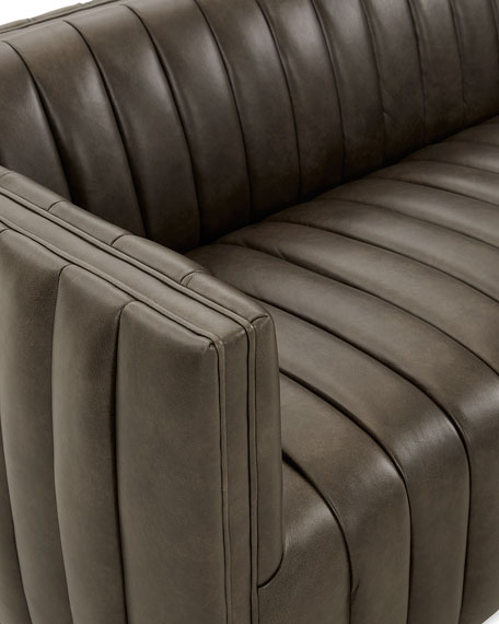 """Aldine Channel Tufted Leather Sofa, 97"""""""