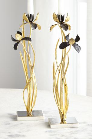 Michael Aram Black Iris Candleholders, Set of 2