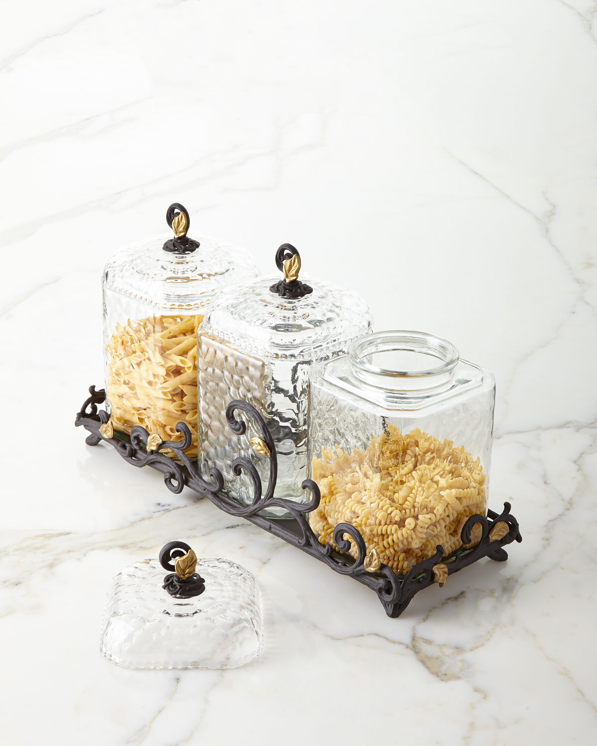 G G Collection Textured Glass Canisters, Set of 3