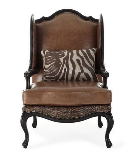 Massoud Lettsworth Leather Wing Chair