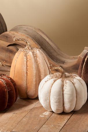 Bethany Lowe Elegant Fall Velvet Pumpkins, Set of 4