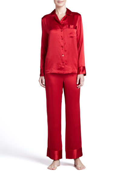 Silk Solid Pajamas, Red