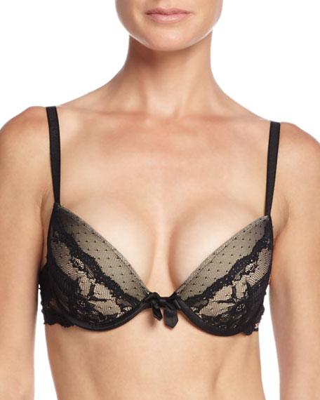 Idole Lace Push-Up Bra, Black