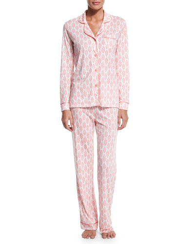 Bella Brocade-Print Pajama Set, White/Pink