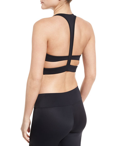 Onzie Wrap T-Back Strappy Sports Bra, Black