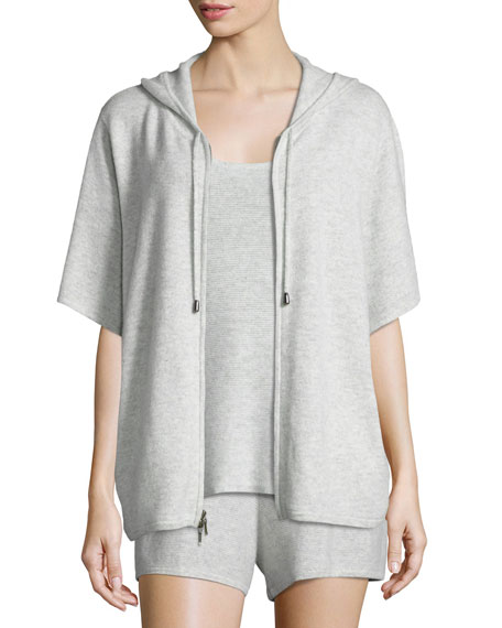 Neiman Marcus Cashmere Collection Cashmere Short-Sleeve Hooded Zip Jacket