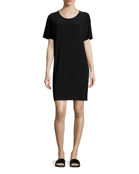Short-Sleeve Boxy Dress, Black