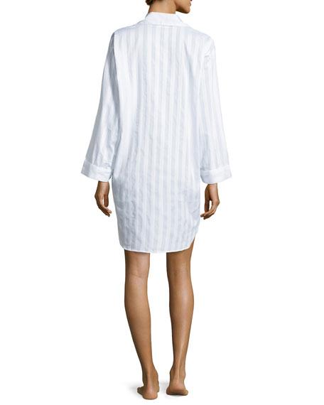 Tina Shadow-Stripe Long-Sleeve Sleep Shirt