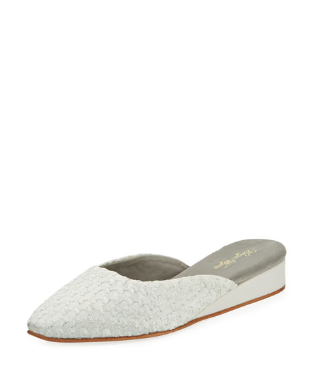Kevyn Wynn Pascal Cotton-Blend Slipper, White/Silver