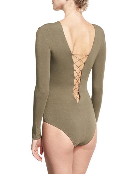 Lace-Up Stretch Jersey Bodysuit