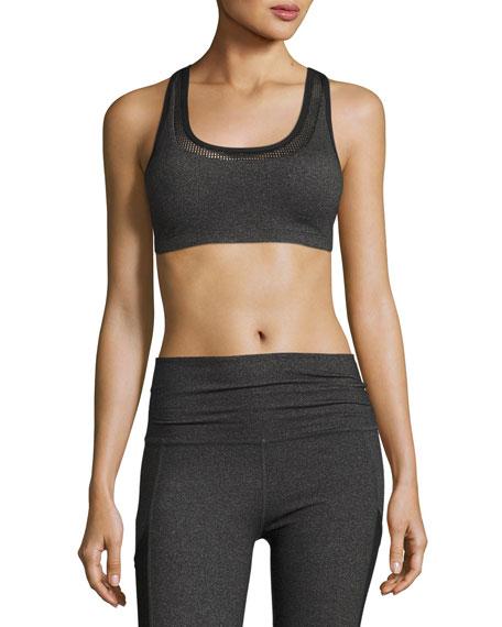 Beyond Yoga Mesh Behavior Strappy-Back Sports Bra, Heather