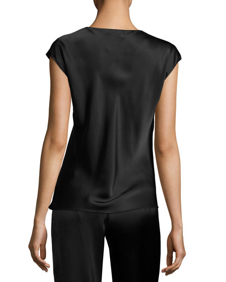 Cap-Sleeve Silk Lounge Top, Black