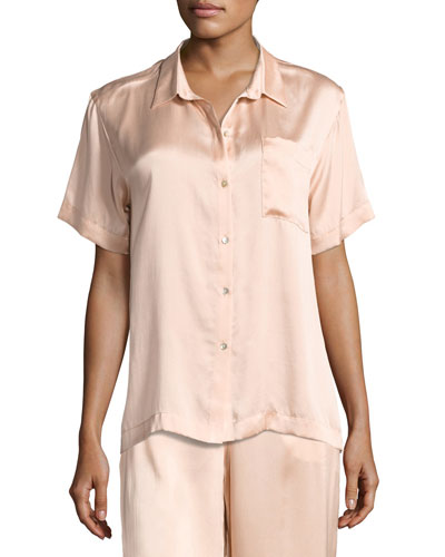 Short-Sleeve Silk-Satin Pajama Top  Light Pink
