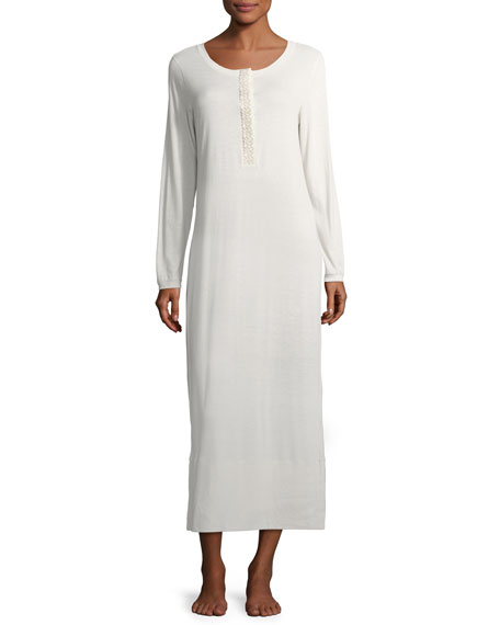 Hanro Flora Long-Sleeve Nightgown
