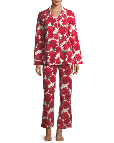 Dahlia Poinsettia-Print Long-Sleeve Pajama Set