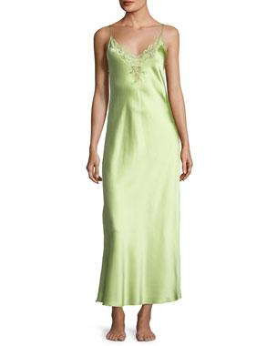 ef1796e5d1e7 Christine Lingerie Capri Lace-Trim Silk Nightgown