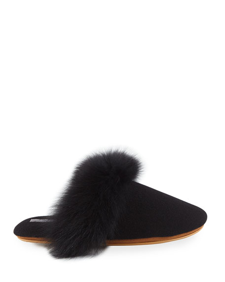 Neiman Marcus Cashmere Collection Cashmere Fox Fur-Trim Mule Slippers