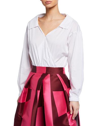 Wrap Top Long-Sleeve Bodysuit