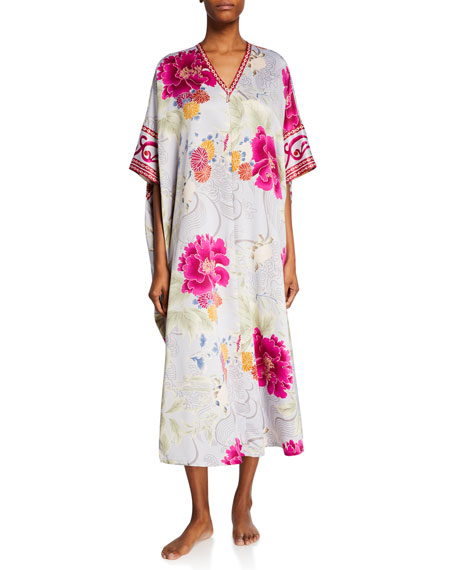 Natori Auburn Floral Zip-Front Satin Caftan