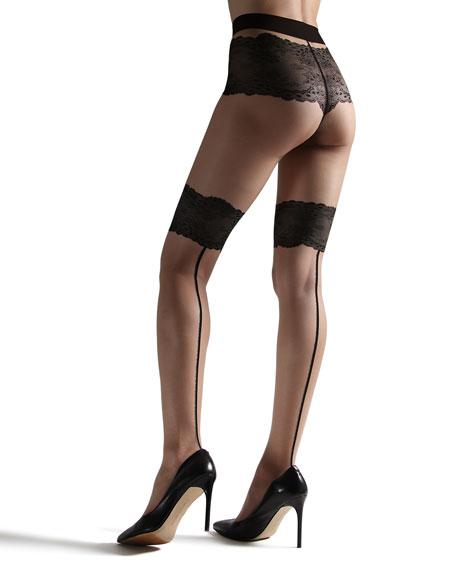 Natori Luxe Lace-Trim Back-Seam Tights
