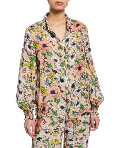 Melina Floral-Print Pajama Shirt