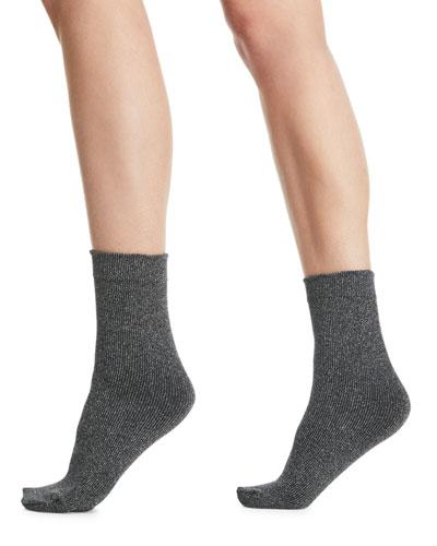Joan Soft Metallic Knit Ankle Socks