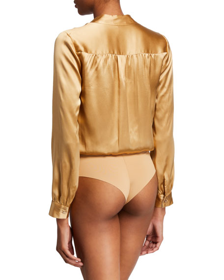 Image 3 of 3: Marcella Surplice Long-Sleeve Silk Charmeuse Bodysuit