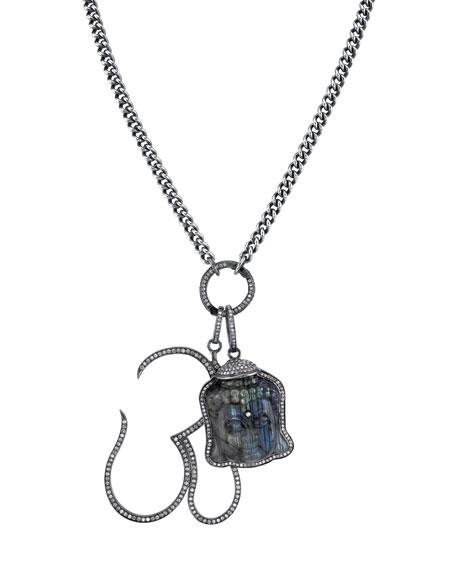 Sheryl Lowe Carved Labradorite Buddha & Diamond Pave Om Pendant Necklace