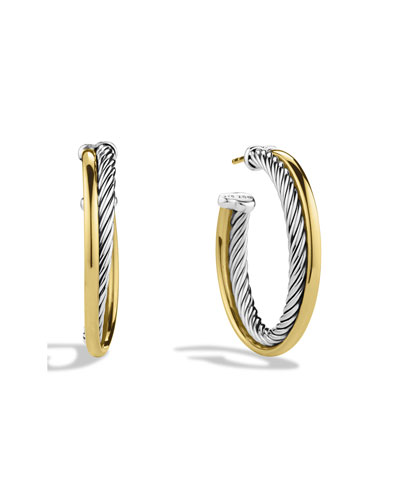 Crossover Medium Hoop Earrings with Gold