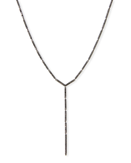 LANA Reckless Bar Lariat Necklace with Black Diamonds