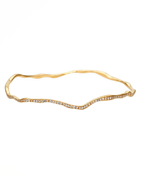 Drizzle Thin Wavy Pave Diamond Gold Bangle