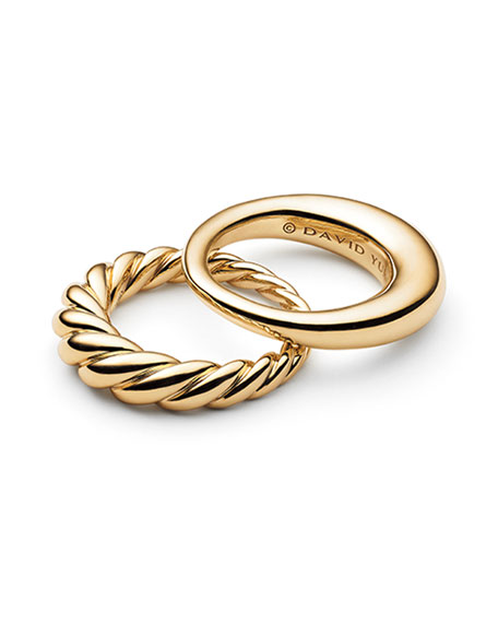 David Yurman Pure Form 18K Stacking Rings, Set of Two, Size 7